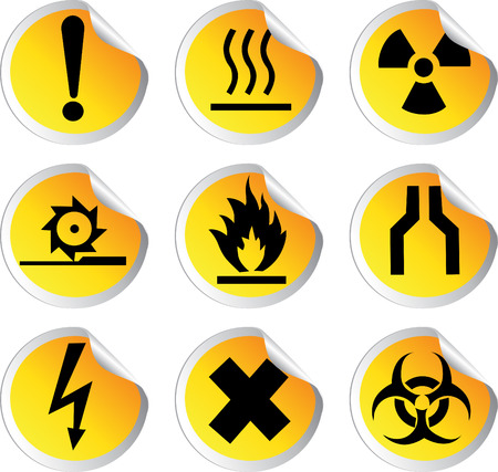 stock color vector glossy stickers with warning signs set 1 Stock Vector - 23152203