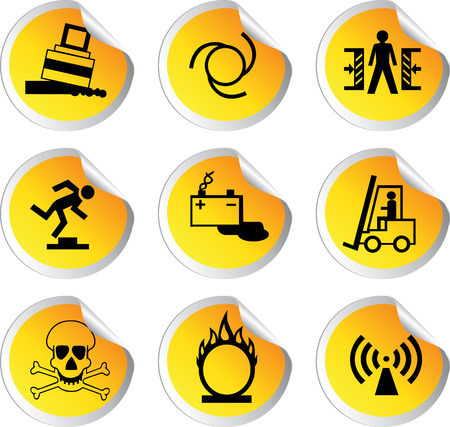 stock color vector glossy stickers with warning signs set 2 Stock Vector - 23152204