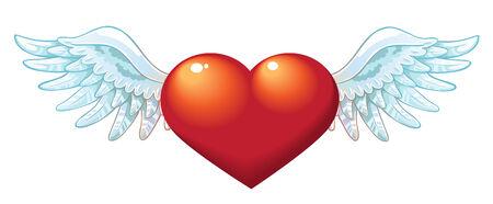 Der Valentinstag Herz mit Flügeln Standard-Bild - 23152182