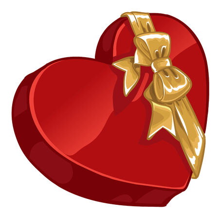 candy hearts: Valentine`s day gift box of candy in shape of heart with gold decorative bow