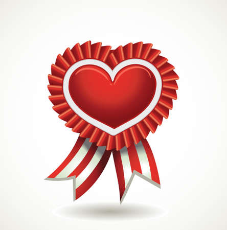 awards ceremony: Vector heart red label with ribbons.