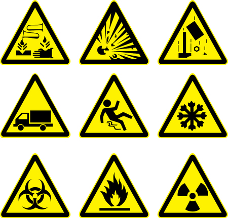 ácido explosivo señales de advertencia establecido obra de construcción de camiones resbaladizo hielo resbaladizo y peligro radiactivo Ilustración de vector