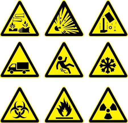 acide explosive signes d'alerte mis en chantier par camion glissante glace radioactifs glissante et risque Vecteurs
