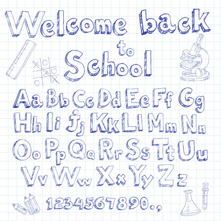 Welcome back to school doodle font on lined sheet Vector