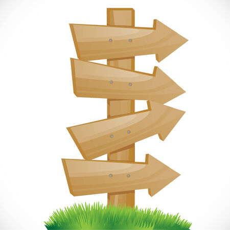 south pole: wooden pointer on a green grass