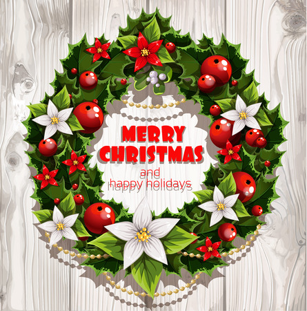 Banner with Christmas wreath on white wood Vector