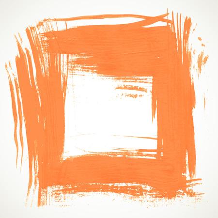 Orange vector frame handdrawn brush on paper
