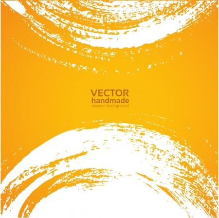 Abstracte oranje bacground uitstrijkje dikke haren kwast
