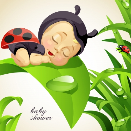 baby sleeping: Baby shower card with newborn child dressed as ladybug Illustration