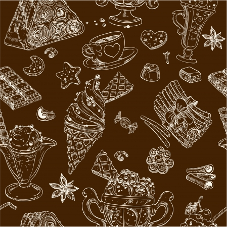 Dark seamless pattern of candy and ice cream