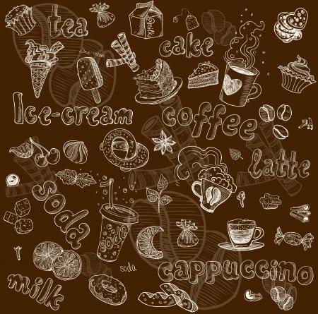 Dunkle nahtlose Muster mit Getränken und Süßigkeiten Standard-Bild - 23898564