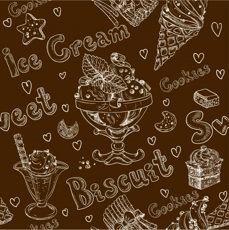 Ice cream dark seamless background Vector