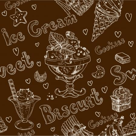 Ice cream dark seamless background Stock Vector - 23974844
