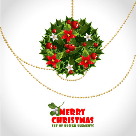 Merry christmas card with decorations Vector