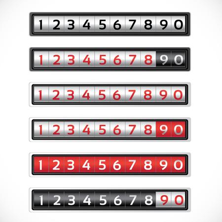 contador electrico: Contadores negros, blancos y rojos de algunas variaciones de color