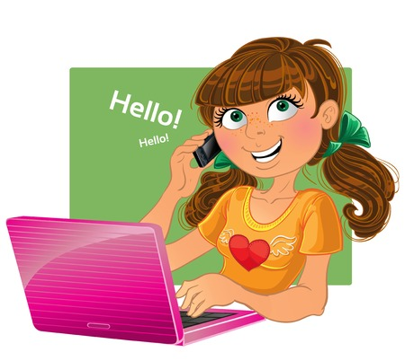 discourse: Brown-haired girl with phone and pink laptop