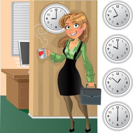 uniformes de oficina: businesswuman con la taza en la oficina por la mañana y el reloj Vectores