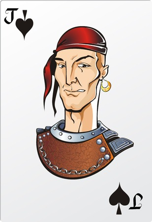 cards deck: Jack of spade  Deck romantic graphics cards Illustration