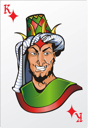 King of diamond  Deck romantic graphics cards Vector