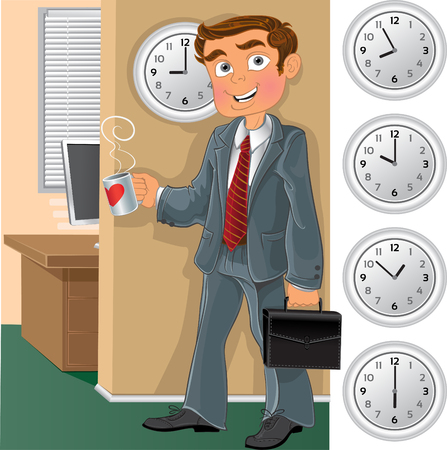 printables: Office worker with cup of tea or coffee