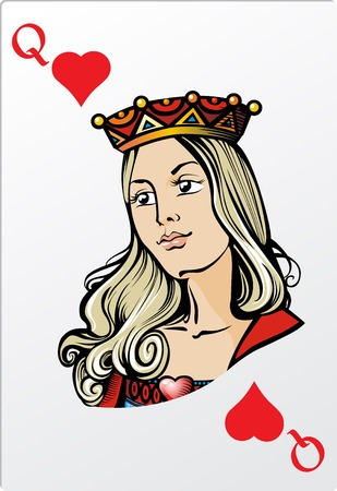 Königin der Herzen Deck romantische Grafikkarten Standard-Bild - 23974942