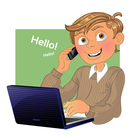 Boy with phone and laptop Vector