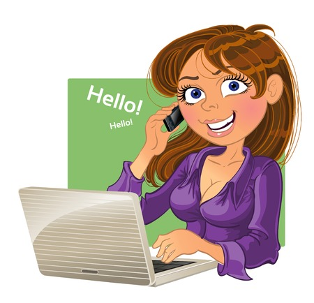 Brown-haired woman with phone and laptop Vector