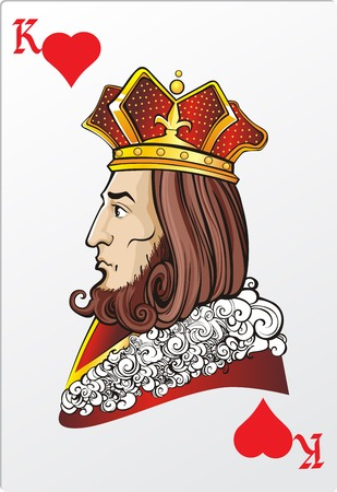 Koning van hart Dek romantische grafische kaarten Stock Illustratie