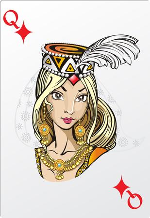ロマンチックなグラフィックス カードのデッキのダイヤモンドの女王  イラスト・ベクター素材