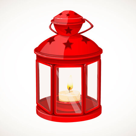 fairy garden: Red festive lantern with a candle inside isolated on white background