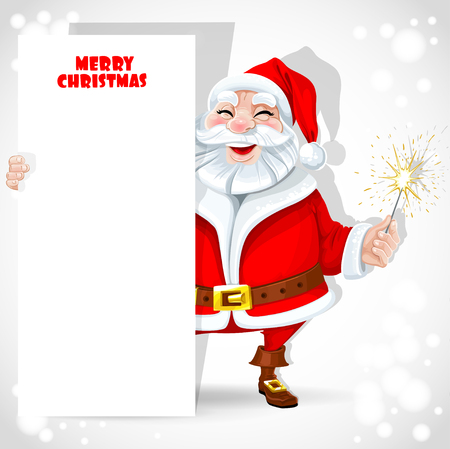 santa suit: Cute Santa Claus holding banner and sparkler