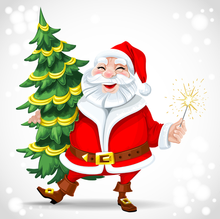 Cute Santa Claus holding Christmas tree and sparkler