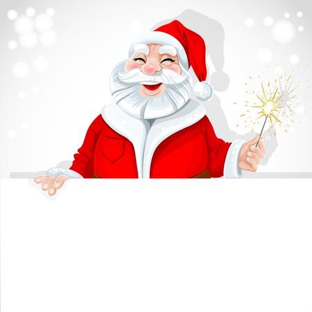 Cute Santa Claus holding large horizontal banner