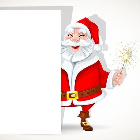 Cute Santa Claus hold big banner and sparkler Иллюстрация