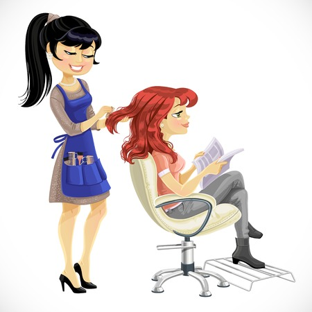 hairdressing scissors: Barber combing cute client girl