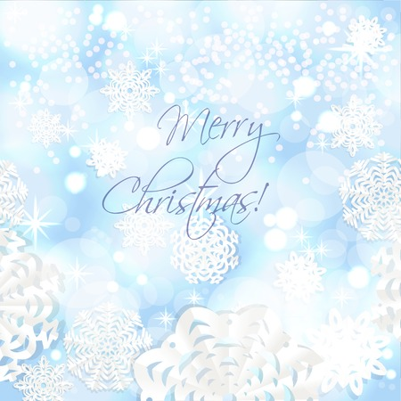 christmass: Blue shining Christmass background from snowflakes applique