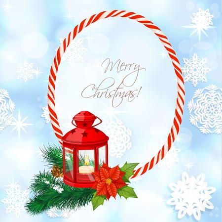 christmass: Azul brillante fondo de Christmass con la linterna en la rama de abeto