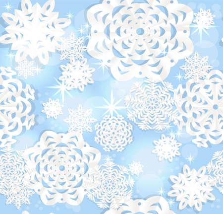 christmass: Azul brillante fondo sin fisuras de los copos de nieve Christmass apliques