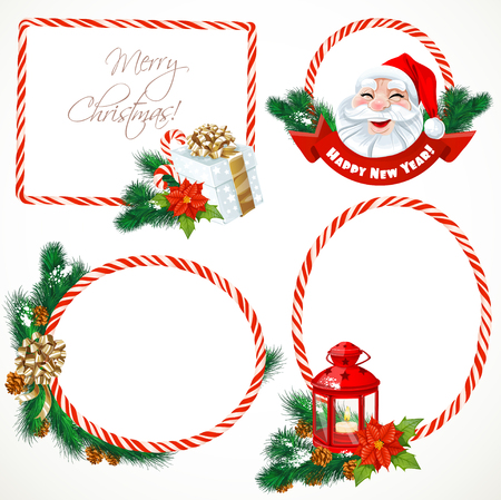 Collectiont of Christmas stickers and banners with decorations isolated on white Vector
