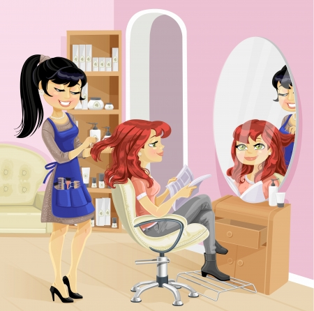 Service girl in a beauty salon at the hairdresser Ilustracja