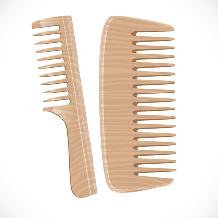 Wooden comb isolated on white background Vector