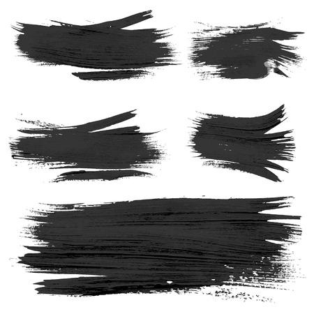 厚さの混沌とした大まかな現実的なブラシ ストローク ペイント 3 ベクトル図面  イラスト・ベクター素材