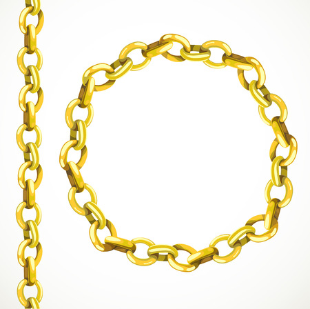Golden chain seamless line and closed in a circle Vector