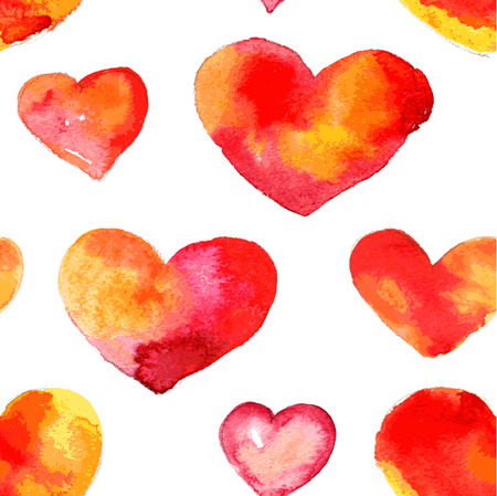 tilling: Heart seamless background from shapes watercolor. Watercolor ornament. Seamless background