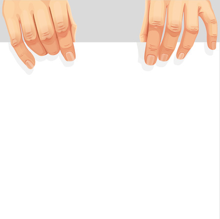 Male hands holding a blank white banner Vector