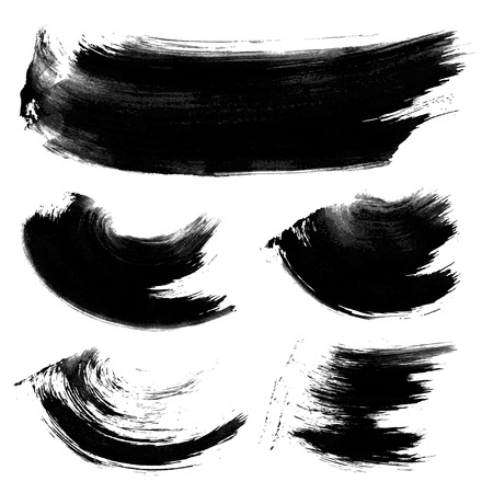 paint brush: Realistic black gouache texture strokes 1