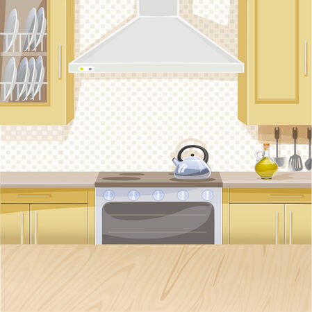 stove: Beige interior of kitchen with stove and cupboards