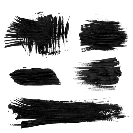 and sumi: Chaotic rough realistic brush strokes with thick paint 1. Vector drawing