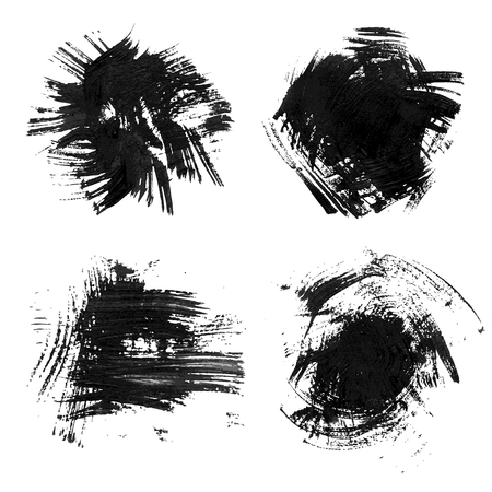 Chaotic rough realistic brush strokes with thick paint. Vector drawing Vector