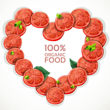 Frame in heart shape from fresh tomato slices sprinkled with herbs Vector